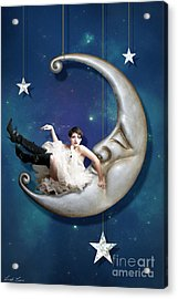 Acrylic Print featuring the digital art Paper Moon by Linda Lees