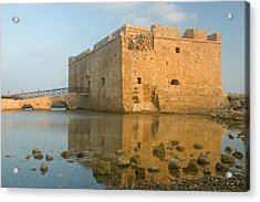 Acrylic Print featuring the photograph Paphos Harbour Castle by Jeremy Voisey