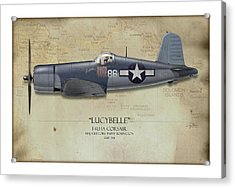 Pappy Boyington F4u Corsair - Map Background Acrylic Print