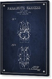 Parachute Harness Patent From 1922 - Navy Blue Acrylic Print