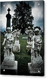 Parade Of Angels Statues At Cemetery Acrylic Print