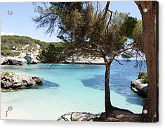 Paradise In Minorca Is Called Cala Mitjana Beach Where Sand Is Almost White And Sea Is A Deep Blue  Acrylic Print