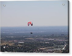 Acrylic Print featuring the photograph Paragliding Over Golden by Chris Thomas