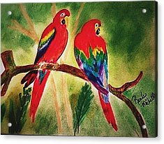 Parakeets In Paradise Acrylic Print