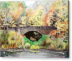 Parapet Bridge - Mill Creek Park Acrylic Print by Laurie Anderson