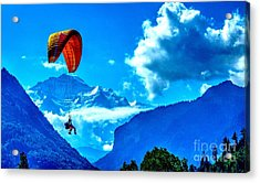Acrylic Print featuring the photograph Parasailing Swiss Alps by Joe  Ng
