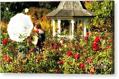 Parasol In Rose Garden Acrylic Print by Mindy Bench