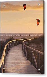 Parasurfing Tarifa, Costa De La Luz Acrylic Print by Ben Welsh
