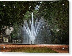 Parc De Bruxelles Fountain Acrylic Print by Joan Carroll
