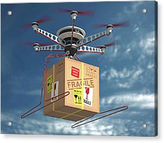 Parcel Delivered By Drone Acrylic Print by Ktsdesign