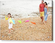 Parents On Beach With Daughter Acrylic Print