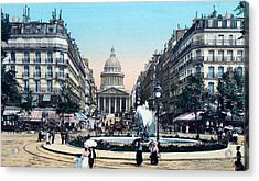 Paris 1910 Rue Soufflot And Pantheon Acrylic Print by Ira Shander