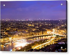 Paris And The River Seine Skyline View At Night Acrylic Print by Mark E Tisdale