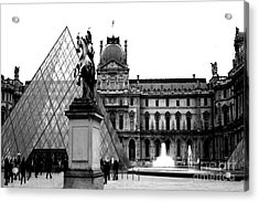 Paris Black And White Photography - Louvre Museum Pyramid Black White Architecture Landmark Acrylic Print by Kathy Fornal