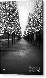 Paris Surreal Black And White Photography - Paris Tuileries Garden Fairy Lights Row Of Trees Acrylic Print