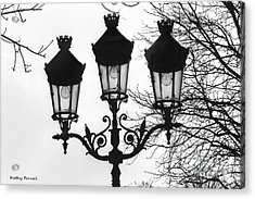 Paris Street Lanterns Lamps - Surreal Black And White Paris Street Lamps Architecture Art Acrylic Print by Kathy Fornal