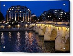 Paris Blue Hour - Pont Neuf Bridge And La Samaritaine Acrylic Print by Georgia Mizuleva
