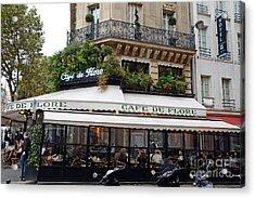 Paris Cafe De Flore - Paris Fine Art Cafe De Flore - Paris Famous Cafes And Street Cafe Scenes Acrylic Print by Kathy Fornal