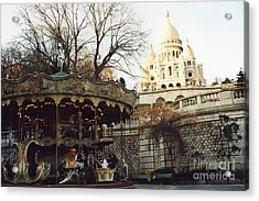 Paris Carousel Merry Go Round Montmartre - Carousel At Sacre Coeur Cathedral  Acrylic Print by Kathy Fornal