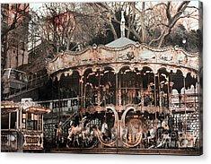 Paris Carousel Merry Go Round Sepia -  Paris Carousel Montmartre District Sacre Coeur Acrylic Print by Kathy Fornal