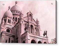 Paris Cathedral Sacre Coeur - Montmartre District Acrylic Print by Kathy Fornal