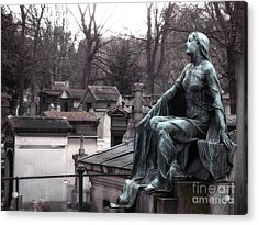 Paris Cemetery Art Sculptures - Female Grave Mourning Figure Monument - Montmartre Cemetery Acrylic Print by Kathy Fornal