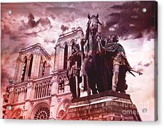 Paris Charlemagne Notre Dame Cathedral Sculpture Monument Landmark - Paris Charlemagne Monument  Acrylic Print by Kathy Fornal