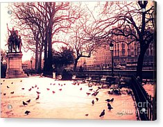 Paris Charlemagne Statue - Surreal Sunset Notre Dame Courtyard Charlemagne With Pigeons Acrylic Print by Kathy Fornal