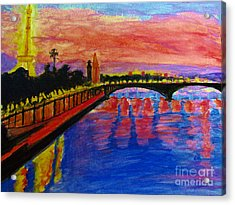 Paris City Of Lights At Dusk Acrylic Print
