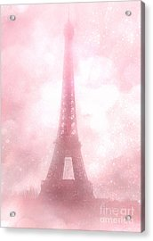 Paris Shabby Chic Pink Dreamy Romantic Eiffel Tower Fantasy Pink Clouds Fine Art Acrylic Print by Kathy Fornal