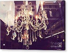 Paris Crystal Chandelier Sparkling Lights - Golden Paris Chandelier Window Reflections Acrylic Print
