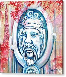 Paris Door Knocker Acrylic Print by Bonnie Sprung