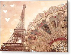 Paris Dreamy Eiffel Tower And Carousel With Hearts - Paris Sepia Eiffel Tower And Carousel Photo Acrylic Print by Kathy Fornal