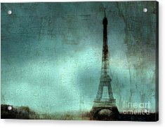 Paris Dreamy Eiffel Tower Teal Aqua Abstract Art Photo - Paris Eiffel Tower Painted Photograph Acrylic Print