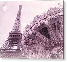 Paris Dreamy Lavender Pink Eiffel Tower Carousel Merry Go Round Art - Dreamy Paris Carousel Print Acrylic Print by Kathy Fornal