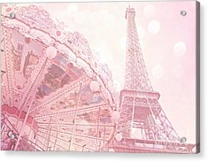 Paris Dreamy Pink Carousel And Eiffel Tower - Eiffel Tower Carousel - Paris Baby Girl Nursery Room Acrylic Print by Kathy Fornal