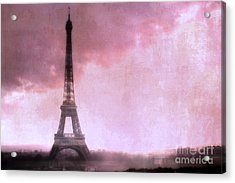 Paris Dreamy Pink Eiffel Tower Abstract Art - Romantic Eiffel Tower With Pink Clouds Acrylic Print by Kathy Fornal