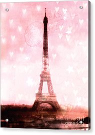 Paris Dreamy Pink Eiffel Tower With Hearts And Stars - Paris Pink Eiffel Tower Romantic Pink Art Acrylic Print by Kathy Fornal