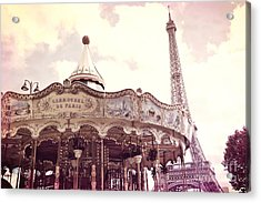 Paris Dreamy Pink Yellow Carousel Eiffel Tower Champs Des Mars - Paris Carrousel De Paris  Acrylic Print by Kathy Fornal