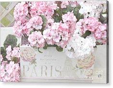 Shabby Chic Paris Pink Flowers, Parisian Shabby Chic Paris Flower Box - Paris Floral Decor Acrylic Print