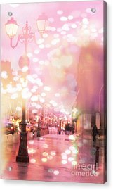 Paris Dreamy Holiday Street Lanterns Lamps - Paris Christmas Holiday Street Lanterns Lights Bokeh Acrylic Print