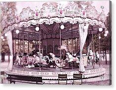 Paris Dreamy Tuileries Park Pink Carousel Merry Go Round - Paris Pink Bokeh Carousel Horses Acrylic Print