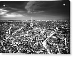 Paris - Eiffel Tower And City At Night Acrylic Print by Vivienne Gucwa