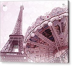 Paris Eiffel Tower Carousel Merry Go Round Photos - Paris Dreamy Lavender Pink Eiffel Tower Carousel Acrylic Print by Kathy Fornal