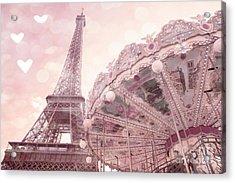 Paris Eiffel Tower Carousel Merry Go Round With Hearts - Eiffel Tower Carousel Baby Girl Nursery Art Acrylic Print by Kathy Fornal