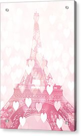 Paris Eiffel Tower Dreamy Pink Hearts Valentine - Paris In Love Eiffel Tower And Hearts  Acrylic Print by Kathy Fornal