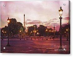 Paris Eiffel Tower Place De La Concorde Evening Pink Sunset Lanterns - Paris Pink Lantern Lights Acrylic Print by Kathy Fornal