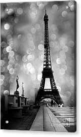 Paris Eiffel Tower Surreal Black And White Photography - Eiffel Tower Bokeh Surreal Fantasy Night  Acrylic Print by Kathy Fornal