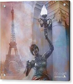 Paris Eiffel Tower Surreal Fantasy Montage Acrylic Print by Kathy Fornal