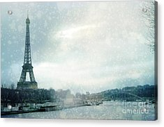 Paris Eiffel Tower Winter Snow - Paris In Winter - Paris Eiffel Tower Winter Fog Landscape Acrylic Print by Kathy Fornal
